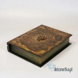 Pudełko stara księga średnia ze smokiem